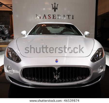 TORONTO-FEBRUARY  11: Maserati Quattroporte Sport GTS at the 2010 Canadian International Auto Show on February 11, 2010 in Toronto - stock photo