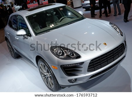 TORONTO-FEBRUARY 14 The all New 2015 Porsche Macan is the first compact SUV Porsche at the 2014 Canadian International Auto Show on February 14 2014 in Toronto