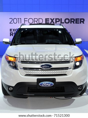 TORONTO-FEBRUARY 17:The new Ford Explorer displayed at the 2011 Canadian International Auto Show on February 17, 2011 in Toronto