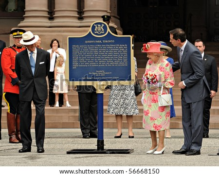 TORONTO-JULY 06: The Queen   unveil a plaque in honour of the 150th anniversary of the dedication of Queen's Park by her great-grandfather in Toronto ,July 06, 2010