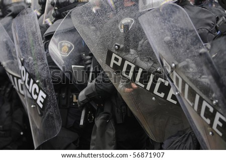 TORONTO-JUNE 26:  A significant presence of Riot Gear during the G20 Protest on June 26, 2010 in Toronto, Canada.