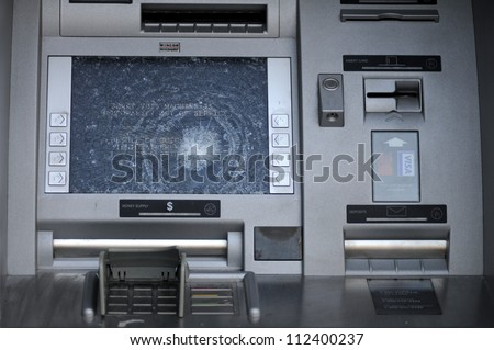 TORONTO-JUNE 28: A Vandalized ATM machine during  the G20 summit on June 28, 2010 in Toronto,Canada.