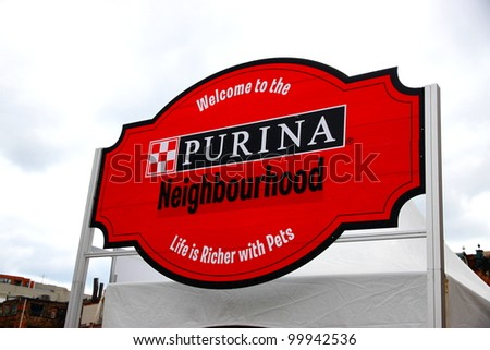 TORONTO - JUNE 12: Purina sign on June 12, 2011 in Toronto. Purina pet food is made and marketed by a division of Nestle (Nestle Purina PetCare), which is headquartered in St. Louis.