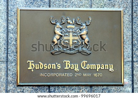 TORONTO - JUNE 19: The Hudson's Bay Company on June 19, 2011 in Toronto. The Hudson's Bay Company, or The Bay, is the oldest commercial corporation in North America and one of the oldest in the world.