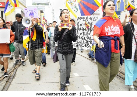 TORONTO-JUNE 26:   Tibetan human rights group marching in a rally during the G20 Protest on June 26 2010 in Toronto, Canada.