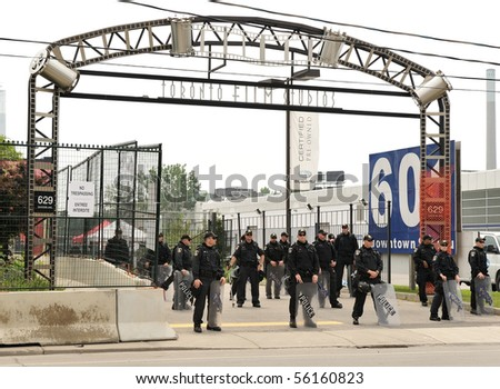 TORONTO-JUNE 27: Toronto Film Studios are used as detention centre for more then 500 protesters arrested by police at G20 protests on June 27, 2010 in Toronto.