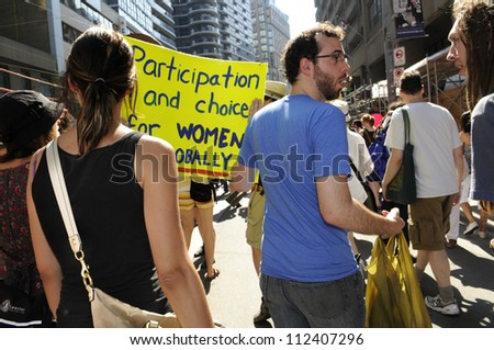 TORONTO-JUNE 25: Woman right activists taking part in a rally during the G20 Protest on June 25, 2010 in Toronto, Canada.