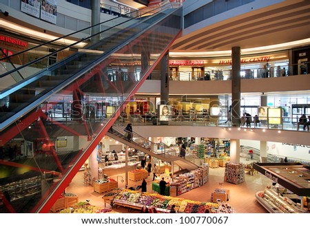 TORONTO - MARCH 16: The interior of a Loblaws supermarket on March 16, 2011 in Toronto. Loblaws is a supermarket chain with over 70 stores in Canada across Ontario and Quebec. - stock photo