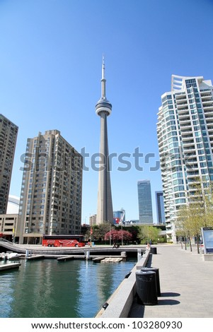 TORONTO - MAY 11: A view of the CN Tower on May 11, 2012 in Toronto. The CN Tower is a communications and observation tower in Downtown Toronto, Ontario, Canada.