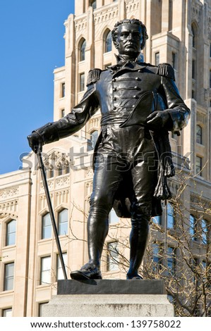 TORONTO-MAY 5: Status of Colonel Simcoe on May 5, 2013 in Toronto, Ontario. Sculpture dedicated to John Graves Simcoe, British army officer and first Lieutenant Governor of Upper Canada from 1791�1796