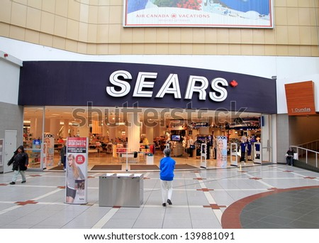 TORONTO - MAY 13: The main entrance of a Sears department store on May 13, 2013 in Toronto. The company was founded by Richard Warren Sears and Alvah Curtis Roebuck in 1893 as a mail order catalog.