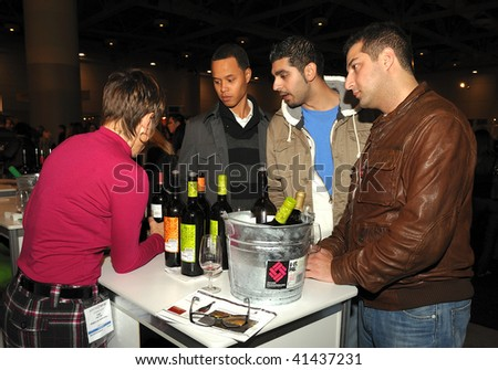 TORONTO-NOVEMBER 21: At the 15th Annual Gourmet Food and Wine Expo, held from Nov.19-22, there were over 1500 wines,beers and spirits from around the World on November 21, 2009 in Toronto, Canada