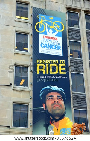 TORONTO - NOVEMBER 24: Ride to Conquer Cancer banner on November 24, 2011 in Toronto. The Ride to Conquer Cancer is an annual charity fundraiser held in various locations across Canada and Australia.