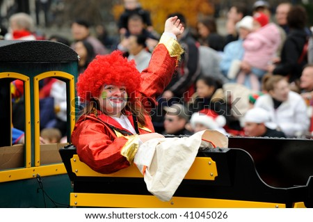 TORONTO-NOVEMBER 15: The most popular characters at the Toronto Santa Claus  Parade were the friendly and colorful clowns on November 15, 2009 in Toronto, Canada.