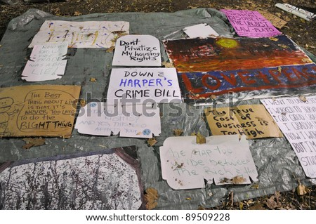 TORONTO - NOVEMBER 22:  The signs and banners of the occupy Toronto movement  remains on the floor after the news floated in that they might be evicted on November 22, 2011 in Toronto, Canada.