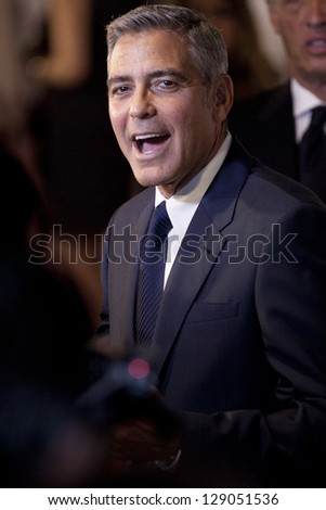 TORONTO, ON/CANADA - SEPT 9, 2011:  Close up of George Clooney laughing at film festival on September 9, 2011 in Toronto