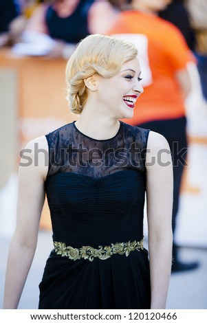 """TORONTO, ON/CANADA - SEPTEMBER 13, 2011:  Actress Sarah Gadon hits the red carpet at the 2011 Toronto Film Festival  for the Screening of """"A Dangerous Method"""" on Sept 13, 2011 in Toronto."""