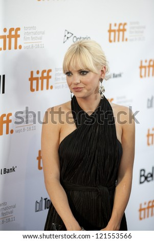 TORONTO, ON/CANADA - SEPTEMBER 10, 2011:  Anna Ferris poses for pictures at the 2011 Toronto International Film Festival en route to the screening of Moneyball on September 10, 2011 in Toronto