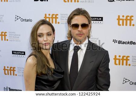 TORONTO, ON/CANADA - SEPTEMBER 13, 2011:  Brad Pitt and Angela Jolie at the International Film Festival on September 13, 2011 in Toronto