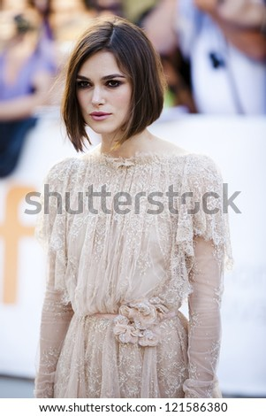 "TORONTO, ON/CANADA - SEPTEMBER 10, 2011: Keira Knightley graces the TIFF red carpet at the screening of ""A Dangerous Method"" on September 10, 2011 in Toronto"