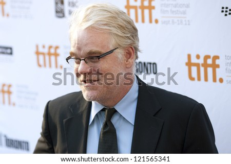 "TORONTO, ON/CANADA - SEPTEMBER 9, 2011:  Philip Seymour Hoffman arrives at the 2011 Toronto International Film Festival for the screening of ""Moneyball""  on September 9th 2011 in Torobnto"