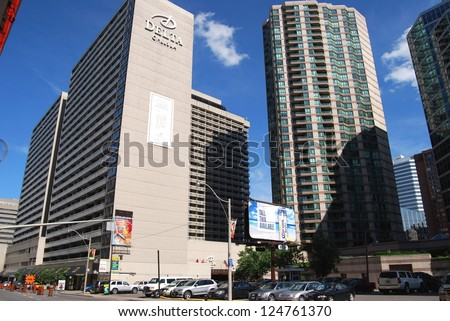 TORONTO,ON - JUNE 07: Downtown Toronto Modern Architecture on June 07, 2010 in Downtown Toronto, Canada. Downtown Toronto has prominent buildings in a variety of styles by many famous architects.