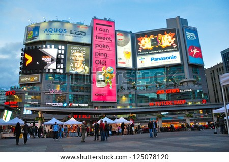 TORONTO,ON - SEPTEMBER 25: Yonge-Dundas Square on September 25, 2010 in Toronto, Canada. Yonge- Dunda Square is a commercial, and public square, hosts many events,and one of Toronto's main attraction.