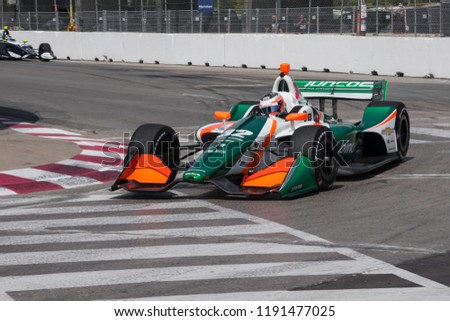 Toronto, Ontario, Canada - July 13 2018: Rene Binder entering Turn 8 during practice for the Honda Indy at Exhibition Placed #1191477025