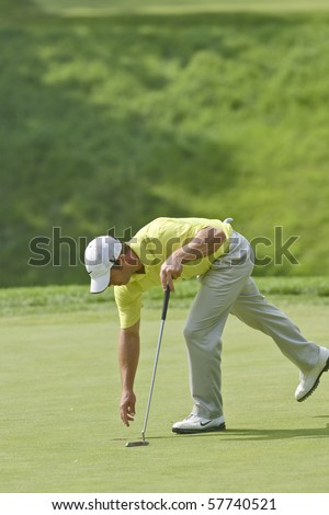 TORONTO, ONTARIO - JULY 21:English golfer Paul Casey on a green during a pro-am event at the RBC Canadian Open golf on July 21, 2010 on Toronto, Ontario.