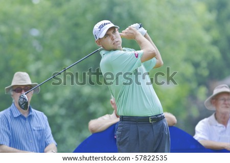 TORONTO, ONTARIO - JULY 21: U.S. golfer Bill Haas follows his tee shot during a pro-am event at the RBC Canadian Open golf on July 21, 2010.