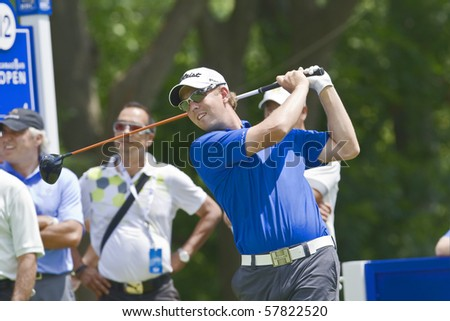 TORONTO, ONTARIO - JULY 21: U.S. golfer Bryce Molder follows his tee shot during a pro-am event at the RBC Canadian Open golf on July 21, 2010.