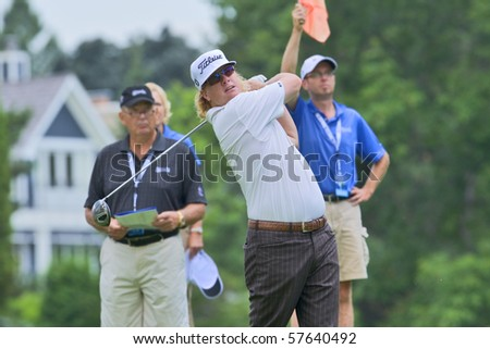 TORONTO, ONTARIO - JULY 21: U.S. golfer Charley Hoffman follows his tee shot during a pro-am event at the RBC Canadian Open golf on July 21, 2010 in Toronto, Ontario.