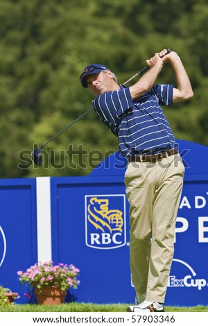 TORONTO, ONTARIO - JULY 21, 2010 : U.S. golfer Fred Couples follows his tee shot during a pro-am event at the RBC Canadian Open,St. George's; Golf and Country Club, Toronto, Ontario, July 21, 2010