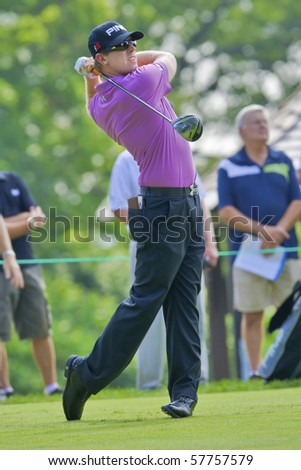 TORONTO, ONTARIO - JULY 21: U.S. golfer Hunter Mahan follows his tee shot during a pro-am event at the RBC Canadian Open golf on July 21, 2010.