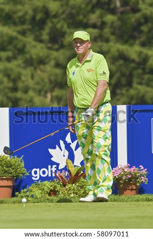 TORONTO, ONTARIO - JULY 21: US golfer John Daly prepares for tee shot during a pro-am event at the RBC Canadian Open golf, St. George's, Golf and Country Club July 21, 2010 Toronto, Ontario.