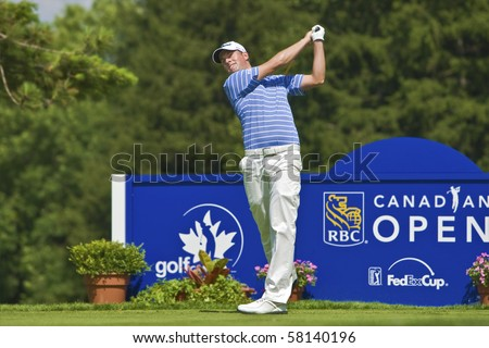 TORONTO, ONTARIO - JULY 21: US golfer Webb Simpson tees off during a pro-am event at the RBC Canadian Open golf, St. George's; Golf and Country Club on July 21, 2010 in Toronto, Ontario.