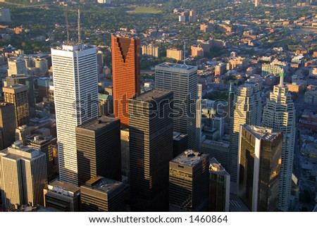 Toronto's Financial District at Sunset (view from the CN Tower)