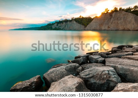 Photo of  Toronto, Scenic Scarborough Bluffs facing Ontario lake shore