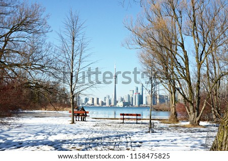 Toronto seen from Wards Island on a freezing day