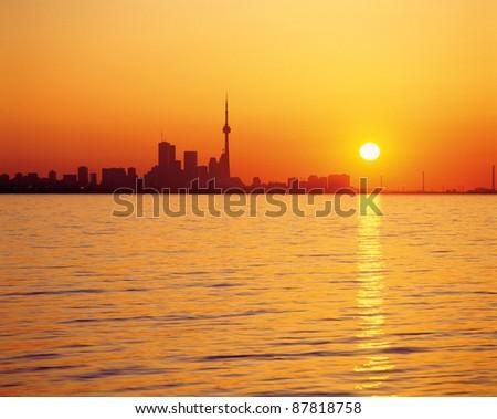Toronto skyline and Lake Ontario