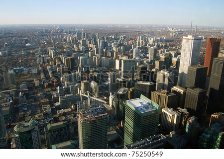Toronto Skyline and Skyscrapers, view from CN tower, Toronto, Ontario, Canada