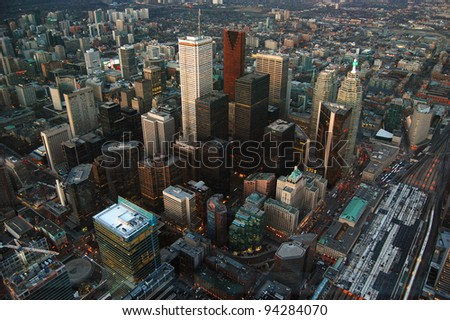 Toronto Skyline and Skyscrapers, view from CN tower, Toronto, Ontario, Canada - stock photo
