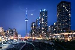 Toronto skyline at dusk, Quebec, Canada