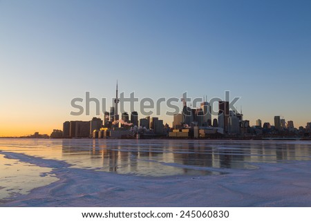 Toronto Skyline at Sunset in the Winter with copyspace  #245060830