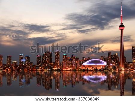 Toronto Skyline at sunset, Ontario, Canada