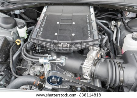 Torrance, USA - May 5 2017:  Dodge Challenger RT engine on display during 12th Annual Edelbrock Car Show. #638114818