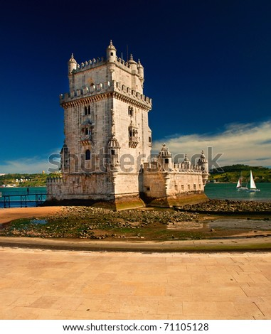Torre de Belem (Belem tower) in Lisbon, Portugal - stock photo
