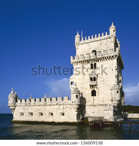 Torre de Belem (Belem Tower) on the Tagus River guarding the entrance to Lisbon in Portugal - stock photo