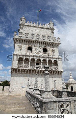 Torre de Belem is a fortified tower in Lisbon Portugal. The tower was build in the earth 16th century and formed part of the defence system at the entrance of the River Tagus.