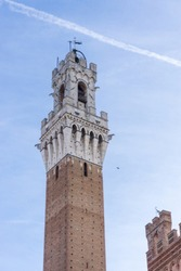 Torre del Mangia and in Piazza del Campo, Siena, Tuscany, Italy